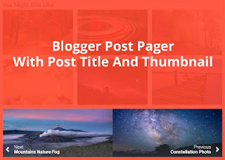 blogger post pager with title and thumbnail