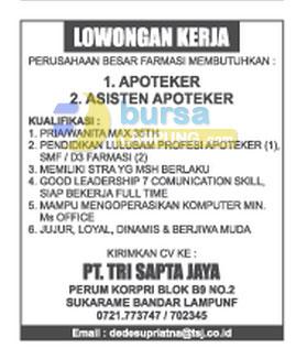 Lowongan Kerja Apoteker di Lampung Oktober 2018