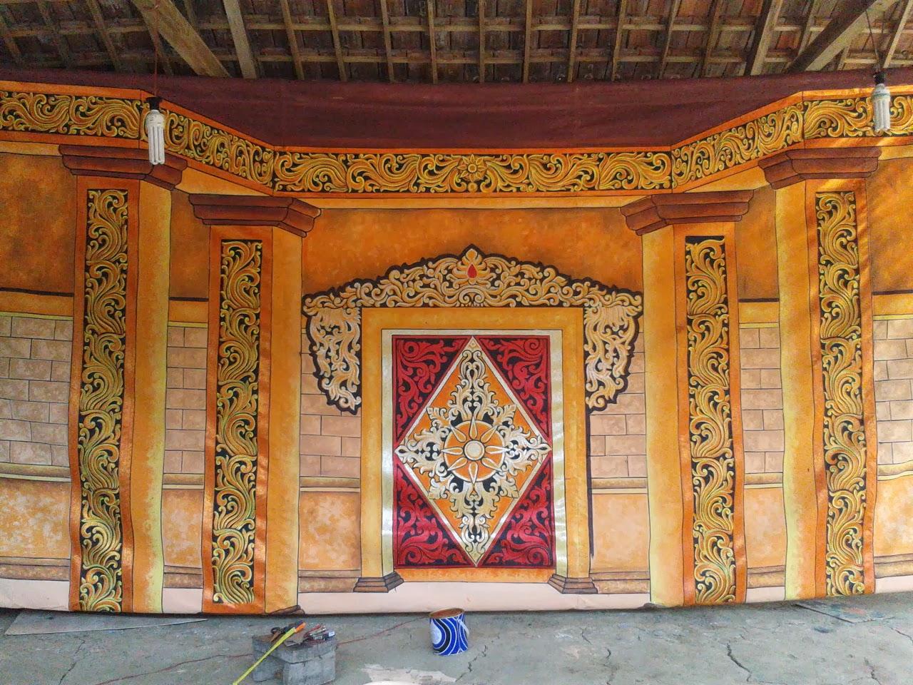 Bon Art Tradition Lukisan Background Kelir Digunakan Kepentingan Panggung Bisa
