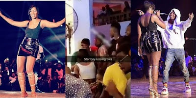 Wizkid and Tiwa Savage allegedly share passionate kiss in a club in Ghana