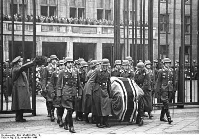 General Udet's casket, 21 November 1941 worldwartwo.filminspector.com