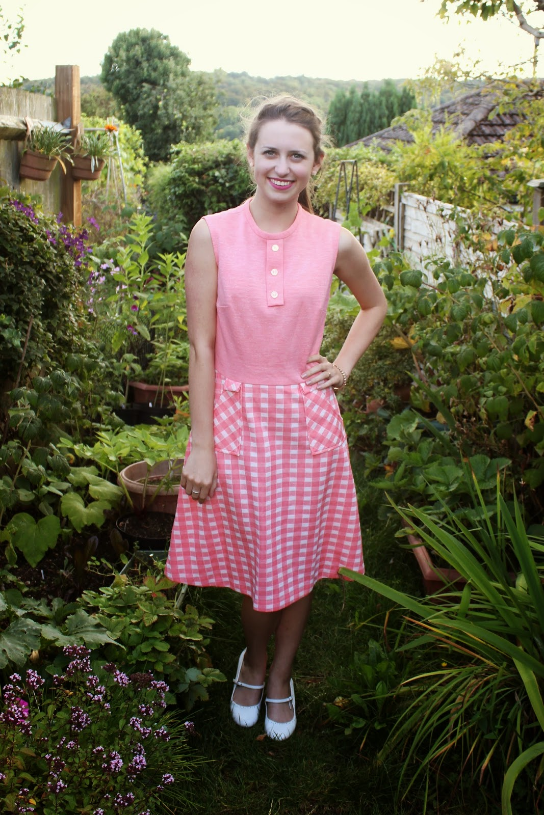 ootd-you're-nobody-but-yourself-garden-dress-pink-check-pattern-print-outfit-fashion-bloggers-clothes-style-inspiration-heels-peace-happy-ring-bracelet-pretty