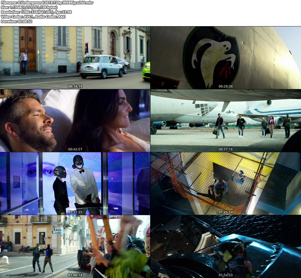 6 Underground 2019 720p WEBRip x264 | 480p 300MB | 100MB HEVC Screenshot