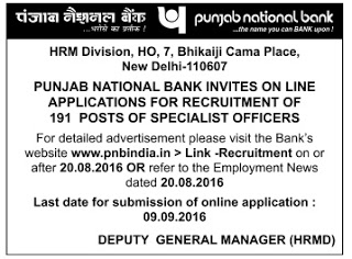 """Punjab National Bank (PNB) Job Vacancy 2016 191 Specialist Officer Posts
