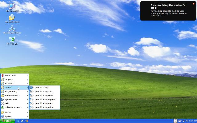 Aquí podemos ver la interfaz gráfica de Tails emulando a Windows XP