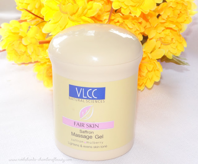 VLCC Fair Skin Saffron Massage Gel- review, swatches, price in India, Indian beauty blogger, Chamber of Beauty