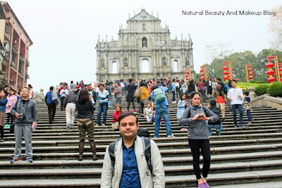 Series of steps in front of Ruins of St. Paul's facade. UNESCO world heritage site and a part of Historic Centre of Macao