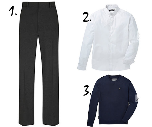 grey trousers, white shirt, and blue jumper for the office on a white background