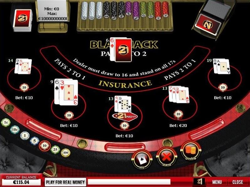 21 Nova Casino Blackjack Screen