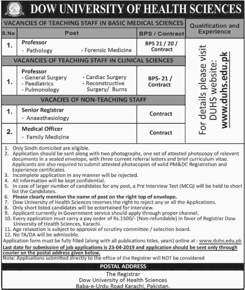 Advertisement for DOW University of Health Sciences Jobs