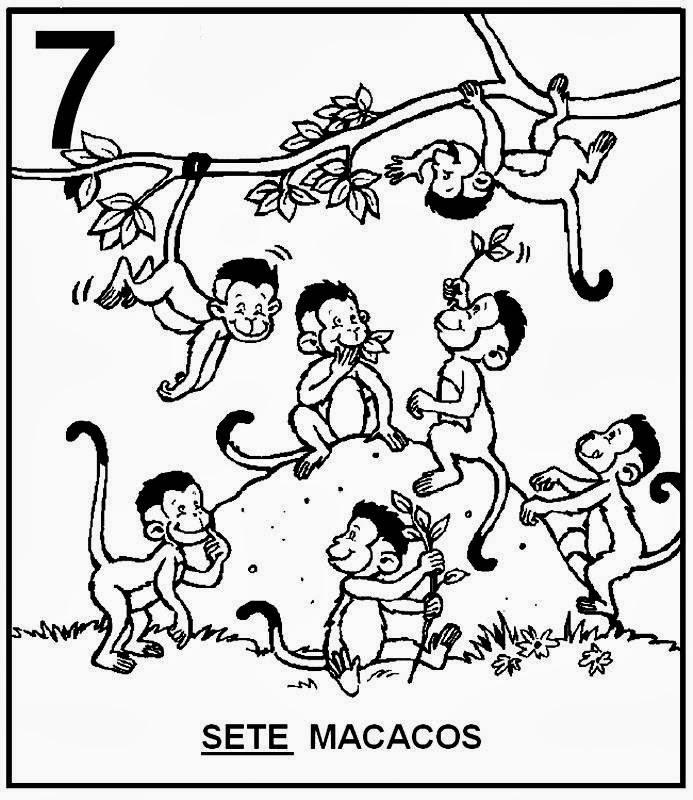 Atividades com Numerais - Macacos para colorir