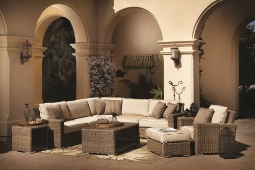 Coronado Resin Wicker Outdoor Seating Set Patio Sectional Sofa Furniture w/ Sunbrella Cushions