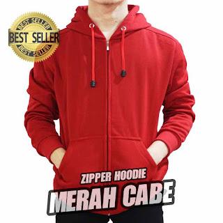 hoodie ZIPPER polos MERAH CABE