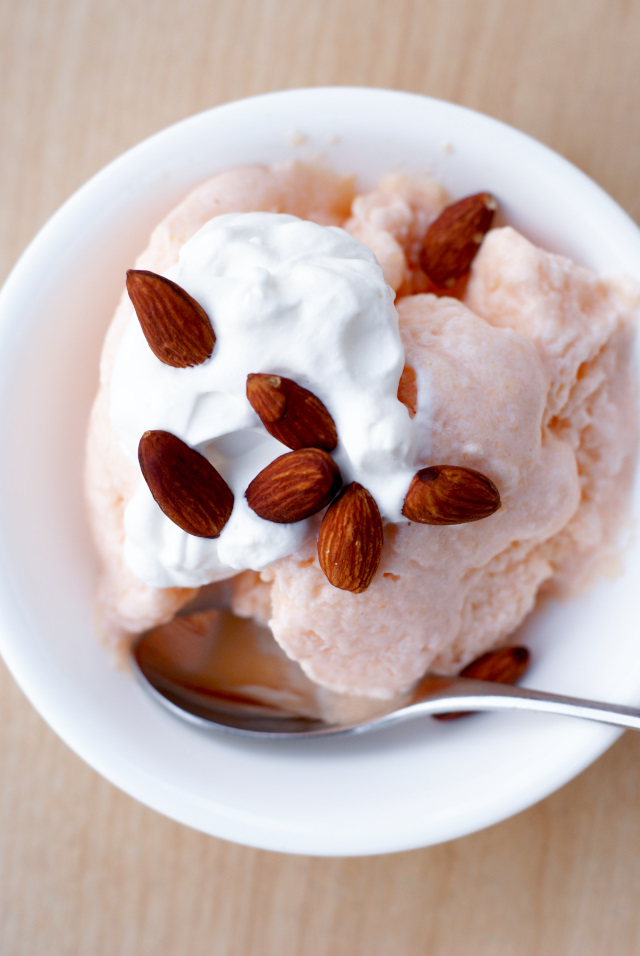 Cantaloupe, White Wine, and Ricotta Ice with Roasted Almonds | thetwobiteclub.com