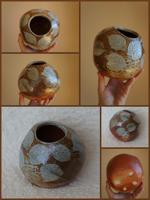 Soda fired and Davidii involucrata (dove tree) imprinted pottery by Lily L.