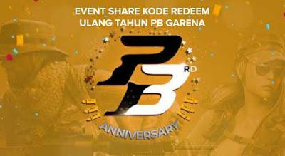 Event Share Kode Redeem Ulang Tahun PB Garena 3rdanniv dan Cara Tukar Redeem Code Terbaru 2018