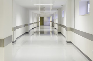 Lit up hospital hallway