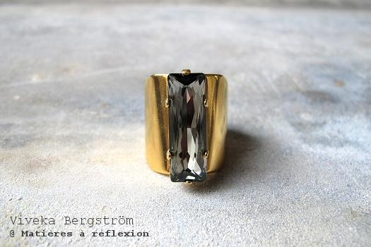 Bague Strass Viveka Bergstrom cristal gris