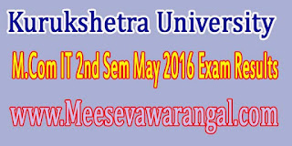 Kurukshetra University M.Com IT 2nd Sem May 2016 Exam Results