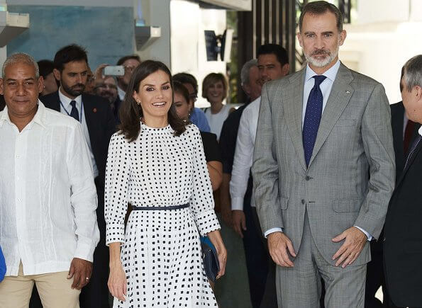 Queen Letizia wore a print dress by Massimo Dutti. Massimo Dutti print dress. Hugo Boss fanila clutch, Carolina Herrera shoes