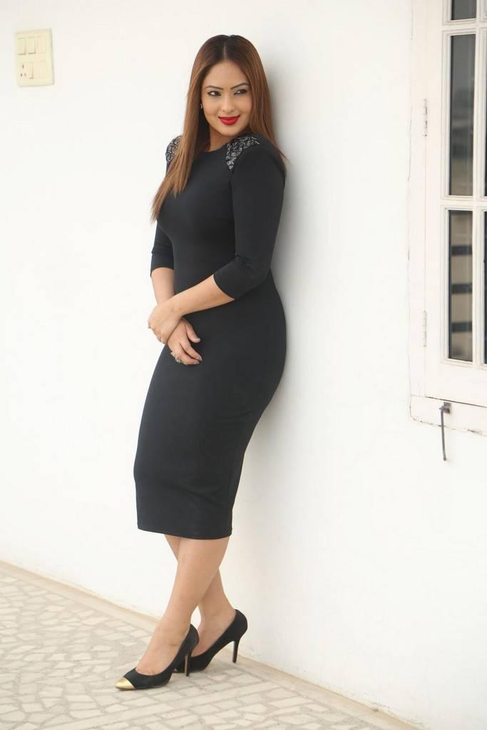 Nikesha Patel In Black Dress At Movie Press Meet
