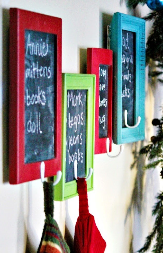Chalkboard Frame Wish List Stocking Holders - Tutorial via Beyond the Picket Fence