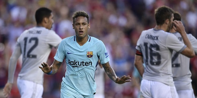 Neymar Cetak Gol Kemenangan Barcelona Atas Manchester United
