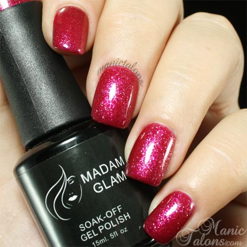 Madam Glam Gel Polish 006 Glittery Berry Swatch