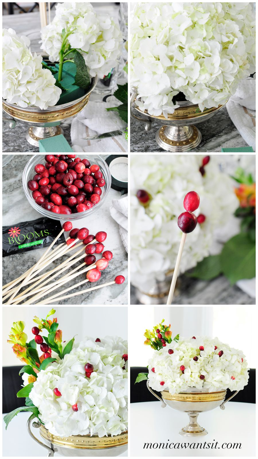 White hydrangeas paired with cranberries and greenery make a simple and elegant centerpiece for any holiday tablescape.