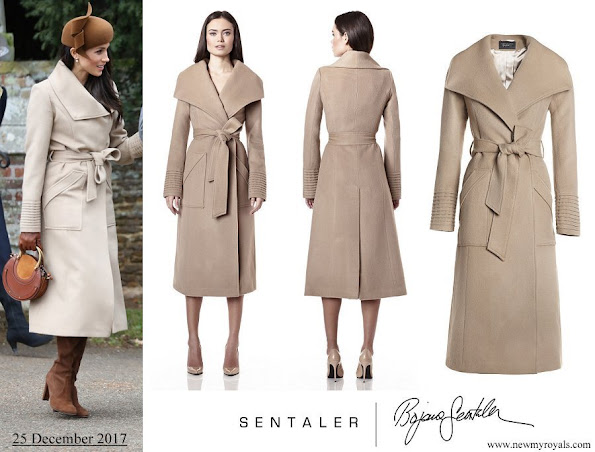 Meghan Markle wore Sentaler Long Wide Collar Wrap Coat