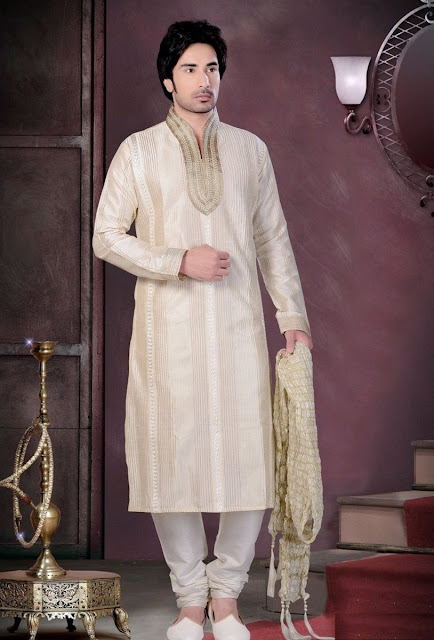 Cream Art Silk Kurta Pajama For Eid