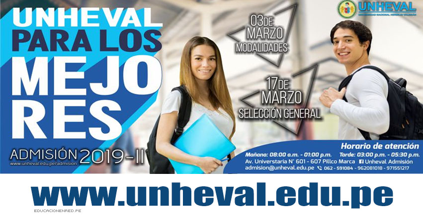 Resultados UNHEVAL 2019-2 (Domingo 17 Marzo) Lista de Ingresantes Examen Admisión - Selección General - Universidad Nacional Hermilio Valdizán - Huánuco - www.unheval.edu.pe