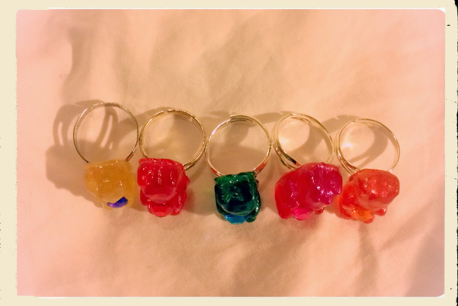 Top view of gummy bear rings