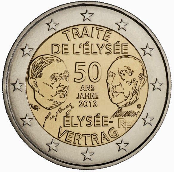 2 Euro Commemorative Coins France 2013, 50 Years of Franco German Friendship Elysee Treaty