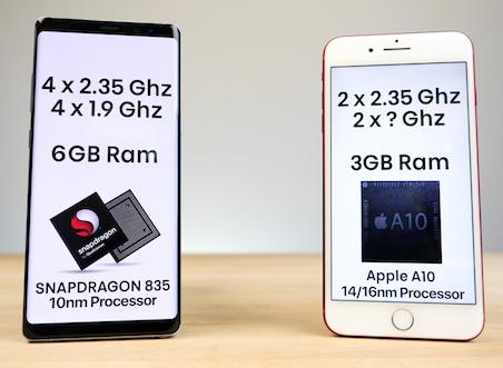 مقارنة بين آيفون 7 بلس و سامسونج جالكسي نوت 8 من حيث السرعة