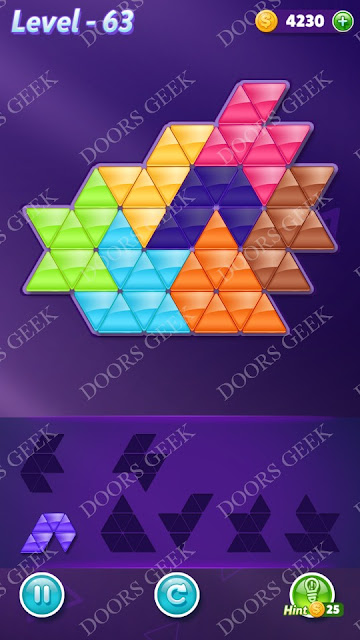 Block! Triangle Puzzle Advanced Level 63 Solution, Cheats, Walkthrough for Android, iPhone, iPad and iPod