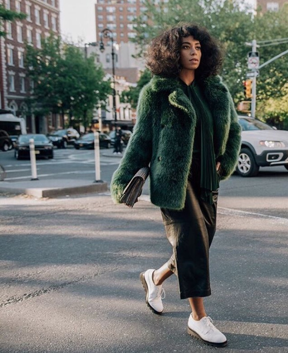 solange, green faux fur jacket, michael kors, outfit, fashion ootd