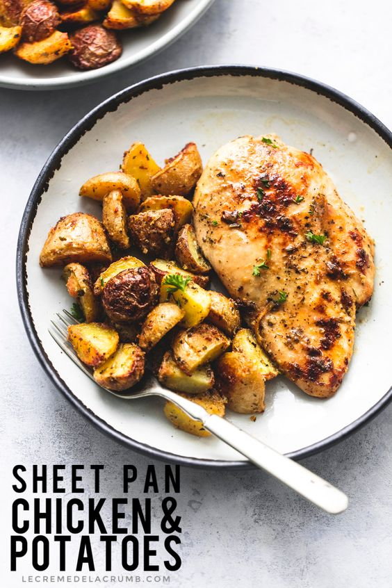 This 5-Ingredient Sheet Pan Chicken and Potatoes takes two common dinner items to next-level deliciousness — all in one pan for easy cleanup!