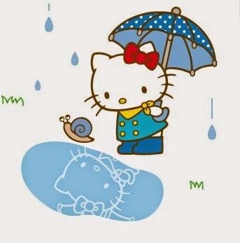 Gambar Hujan Hello Kitty Pakai Payung Lucu Imut