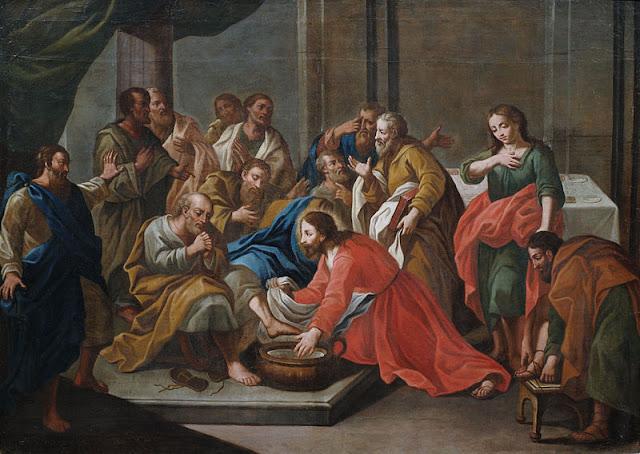 Resultado de imagen de Jesús lavando los pies de sus discípulos