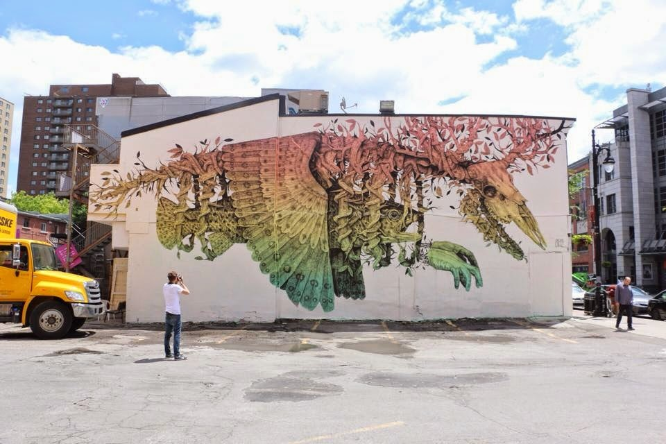 Alexis Diaz was also part of the line-up for the latest edition of the Mural Street Art Festival in Montreal, Canada.