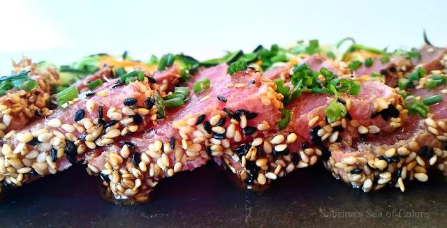 Tataki de atún rojo con calabaguetis