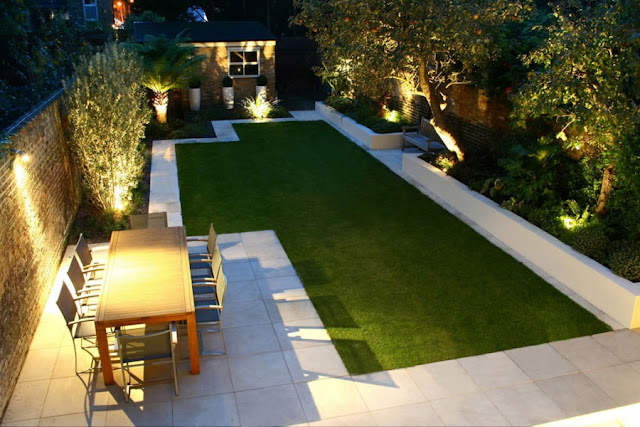 Desain taman minimalis eropa dengan rumput rata seperti karpet hijau nan luas