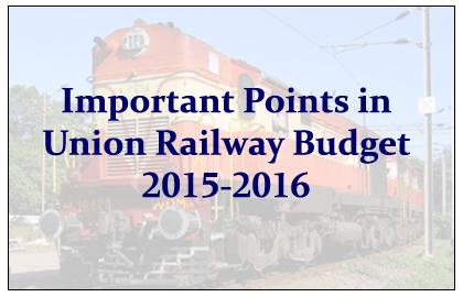 Union Railway Budget 2015-2016