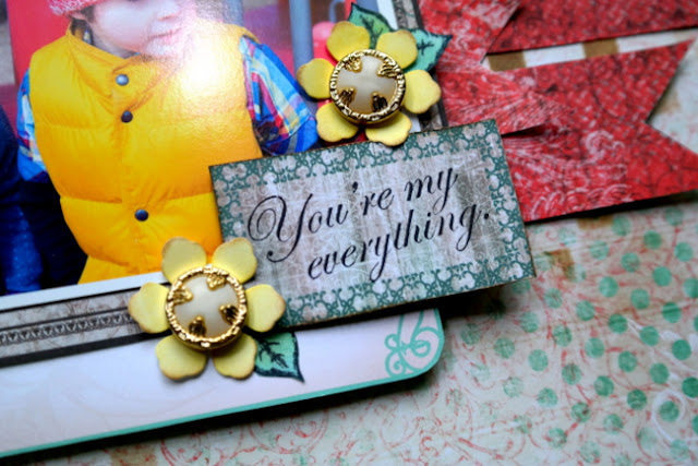 Stamped Title Block Embellished with Handmade Flowers