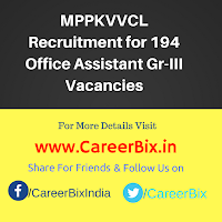 MPPKVVCL Recruitment for 194 Office Assistant Gr-III Vacancies