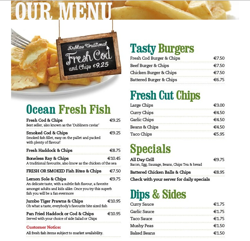 Leo burdock traditional fish chips dublin simple for One fish two fish menu