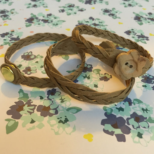Mystery braided braceletes with snap fastener, magnetic class and wooden button closures by Nadine Muir for UK Silhouette Blog