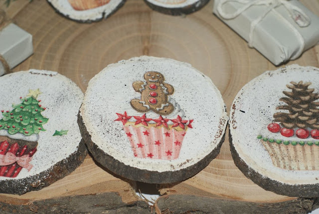 zawieszki choinkowe - dekoracje decoupage
