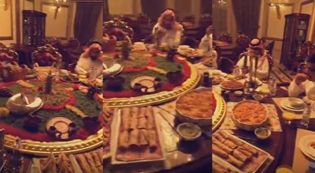 بذخ عائلة سعودية تفطر في رمضان على طاولة متحركة!! شاهدوا الى اين وصل الترف